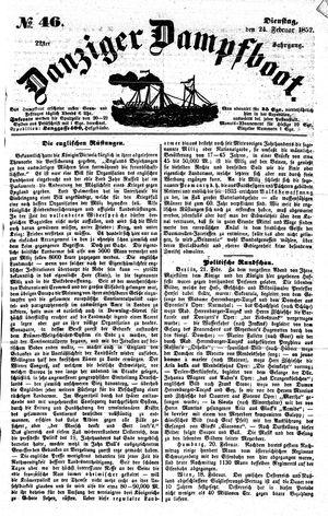 Danziger Dampfboot für Geist, Humor, Satire, Poesie, Welt- und Volksleben, Korrespondenz, Kunst, Literatur und Theater vom 24.02.1852
