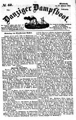 Danziger Dampfboot für Geist, Humor, Satire, Poesie, Welt- und Volksleben, Korrespondenz, Kunst, Literatur und Theater vom 25.02.1852
