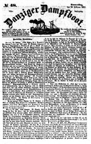 Danziger Dampfboot für Geist, Humor, Satire, Poesie, Welt- und Volksleben, Korrespondenz, Kunst, Literatur und Theater vom 26.02.1852
