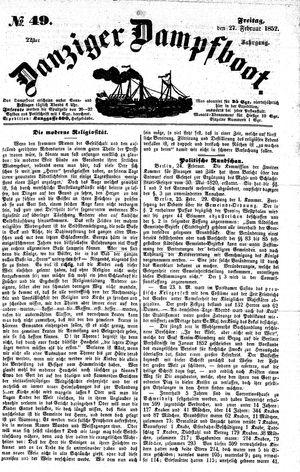 Danziger Dampfboot für Geist, Humor, Satire, Poesie, Welt- und Volksleben, Korrespondenz, Kunst, Literatur und Theater vom 27.02.1852