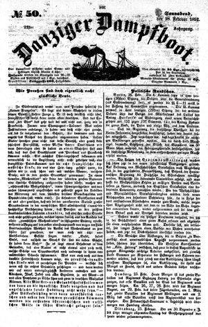 Danziger Dampfboot für Geist, Humor, Satire, Poesie, Welt- und Volksleben, Korrespondenz, Kunst, Literatur und Theater vom 28.02.1852