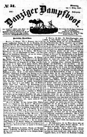 Danziger Dampfboot für Geist, Humor, Satire, Poesie, Welt- und Volksleben, Korrespondenz, Kunst, Literatur und Theater on Mar 1, 1852