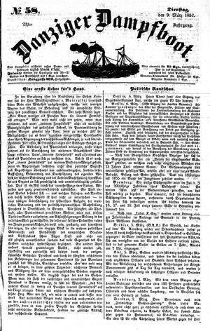 Danziger Dampfboot für Geist, Humor, Satire, Poesie, Welt- und Volksleben, Korrespondenz, Kunst, Literatur und Theater on Mar 9, 1852