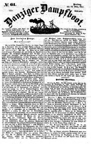 Danziger Dampfboot für Geist, Humor, Satire, Poesie, Welt- und Volksleben, Korrespondenz, Kunst, Literatur und Theater vom 12.03.1852
