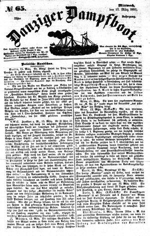 Danziger Dampfboot für Geist, Humor, Satire, Poesie, Welt- und Volksleben, Korrespondenz, Kunst, Literatur und Theater vom 17.03.1852