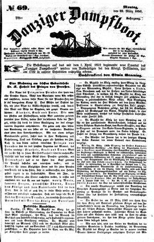 Danziger Dampfboot für Geist, Humor, Satire, Poesie, Welt- und Volksleben, Korrespondenz, Kunst, Literatur und Theater vom 22.03.1852