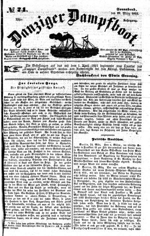 Danziger Dampfboot für Geist, Humor, Satire, Poesie, Welt- und Volksleben, Korrespondenz, Kunst, Literatur und Theater vom 27.03.1852