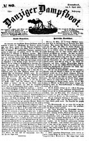Danziger Dampfboot für Geist, Humor, Satire, Poesie, Welt- und Volksleben, Korrespondenz, Kunst, Literatur und Theater vom 03.04.1852