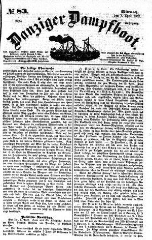 Danziger Dampfboot für Geist, Humor, Satire, Poesie, Welt- und Volksleben, Korrespondenz, Kunst, Literatur und Theater vom 07.04.1852