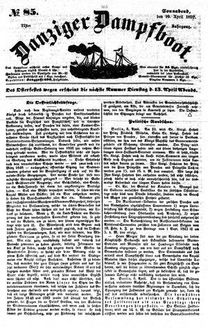 Danziger Dampfboot für Geist, Humor, Satire, Poesie, Welt- und Volksleben, Korrespondenz, Kunst, Literatur und Theater vom 10.04.1852