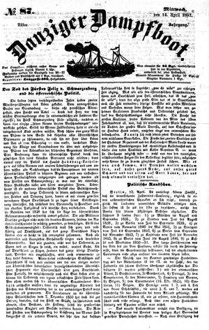 Danziger Dampfboot für Geist, Humor, Satire, Poesie, Welt- und Volksleben, Korrespondenz, Kunst, Literatur und Theater on Apr 14, 1852