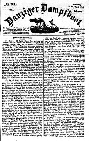 Danziger Dampfboot für Geist, Humor, Satire, Poesie, Welt- und Volksleben, Korrespondenz, Kunst, Literatur und Theater on Apr 19, 1852