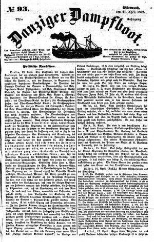 Danziger Dampfboot für Geist, Humor, Satire, Poesie, Welt- und Volksleben, Korrespondenz, Kunst, Literatur und Theater vom 21.04.1852