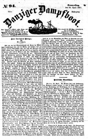 Danziger Dampfboot für Geist, Humor, Satire, Poesie, Welt- und Volksleben, Korrespondenz, Kunst, Literatur und Theater vom 22.04.1852