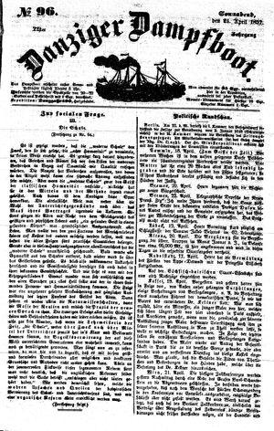 Danziger Dampfboot für Geist, Humor, Satire, Poesie, Welt- und Volksleben, Korrespondenz, Kunst, Literatur und Theater vom 24.04.1852