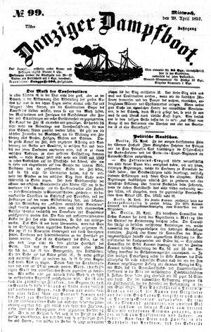 Danziger Dampfboot für Geist, Humor, Satire, Poesie, Welt- und Volksleben, Korrespondenz, Kunst, Literatur und Theater vom 28.04.1852