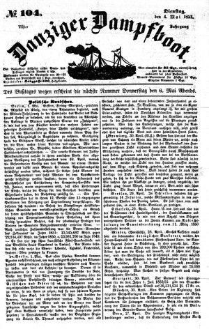 Danziger Dampfboot für Geist, Humor, Satire, Poesie, Welt- und Volksleben, Korrespondenz, Kunst, Literatur und Theater vom 04.05.1852