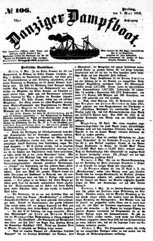 Danziger Dampfboot für Geist, Humor, Satire, Poesie, Welt- und Volksleben, Korrespondenz, Kunst, Literatur und Theater vom 07.05.1852