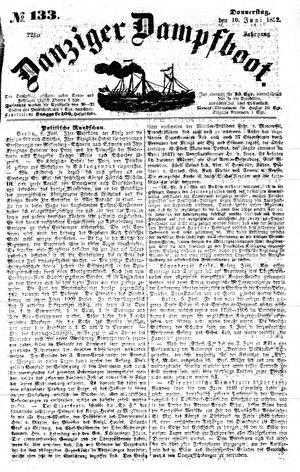 Danziger Dampfboot für Geist, Humor, Satire, Poesie, Welt- und Volksleben, Korrespondenz, Kunst, Literatur und Theater vom 10.06.1852