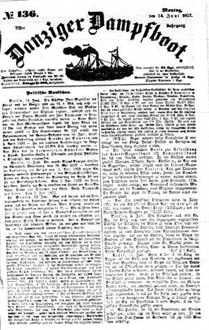 Danziger Dampfboot für Geist, Humor, Satire, Poesie, Welt- und Volksleben, Korrespondenz, Kunst, Literatur und Theater vom 14.06.1852