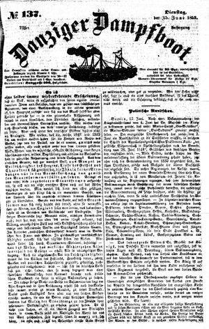Danziger Dampfboot für Geist, Humor, Satire, Poesie, Welt- und Volksleben, Korrespondenz, Kunst, Literatur und Theater vom 15.06.1852