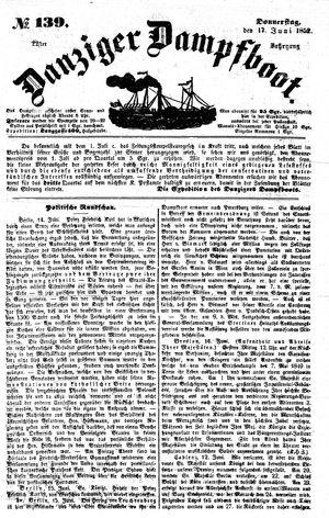Danziger Dampfboot für Geist, Humor, Satire, Poesie, Welt- und Volksleben, Korrespondenz, Kunst, Literatur und Theater vom 17.06.1852