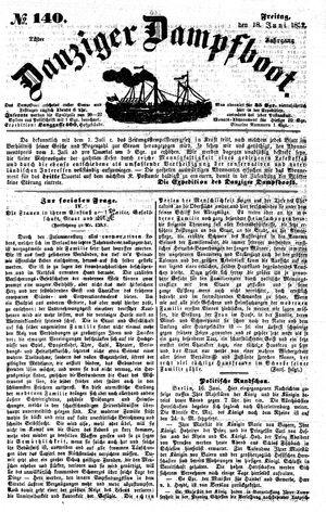 Danziger Dampfboot für Geist, Humor, Satire, Poesie, Welt- und Volksleben, Korrespondenz, Kunst, Literatur und Theater vom 18.06.1852