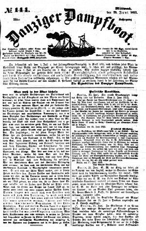 Danziger Dampfboot für Geist, Humor, Satire, Poesie, Welt- und Volksleben, Korrespondenz, Kunst, Literatur und Theater vom 23.06.1852