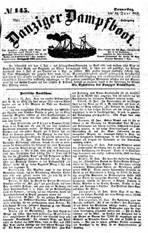 Danziger Dampfboot für Geist, Humor, Satire, Poesie, Welt- und Volksleben, Korrespondenz, Kunst, Literatur und Theater vom 24.06.1852