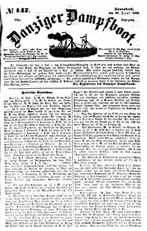 Danziger Dampfboot für Geist, Humor, Satire, Poesie, Welt- und Volksleben, Korrespondenz, Kunst, Literatur und Theater vom 26.06.1852
