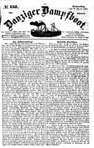 Danziger Dampfboot für Geist, Humor, Satire, Poesie, Welt- und Volksleben, Korrespondenz, Kunst, Literatur und Theater vom 08.07.1852