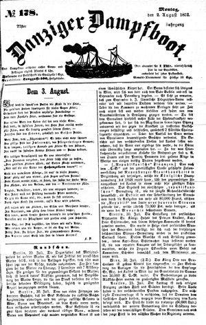 Danziger Dampfboot für Geist, Humor, Satire, Poesie, Welt- und Volksleben, Korrespondenz, Kunst, Literatur und Theater vom 02.08.1852
