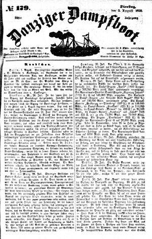 Danziger Dampfboot für Geist, Humor, Satire, Poesie, Welt- und Volksleben, Korrespondenz, Kunst, Literatur und Theater vom 03.08.1852