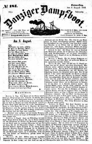 Danziger Dampfboot für Geist, Humor, Satire, Poesie, Welt- und Volksleben, Korrespondenz, Kunst, Literatur und Theater on Aug 5, 1852