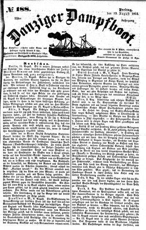 Danziger Dampfboot für Geist, Humor, Satire, Poesie, Welt- und Volksleben, Korrespondenz, Kunst, Literatur und Theater vom 13.08.1852