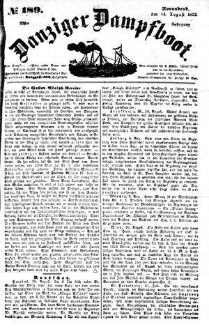 Danziger Dampfboot für Geist, Humor, Satire, Poesie, Welt- und Volksleben, Korrespondenz, Kunst, Literatur und Theater vom 14.08.1852
