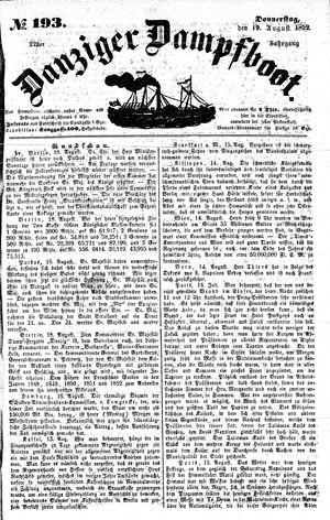 Danziger Dampfboot für Geist, Humor, Satire, Poesie, Welt- und Volksleben, Korrespondenz, Kunst, Literatur und Theater vom 19.08.1852