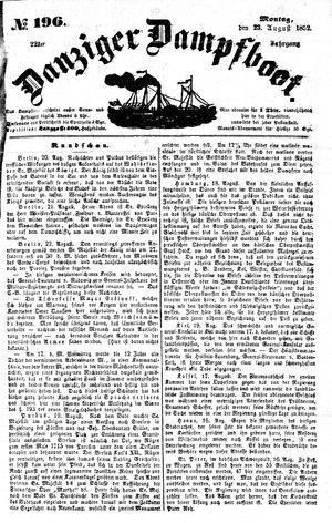 Danziger Dampfboot für Geist, Humor, Satire, Poesie, Welt- und Volksleben, Korrespondenz, Kunst, Literatur und Theater vom 23.08.1852