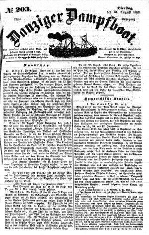 Danziger Dampfboot für Geist, Humor, Satire, Poesie, Welt- und Volksleben, Korrespondenz, Kunst, Literatur und Theater vom 31.08.1852