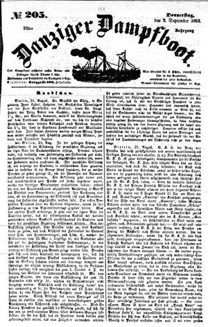 Danziger Dampfboot für Geist, Humor, Satire, Poesie, Welt- und Volksleben, Korrespondenz, Kunst, Literatur und Theater vom 02.09.1852