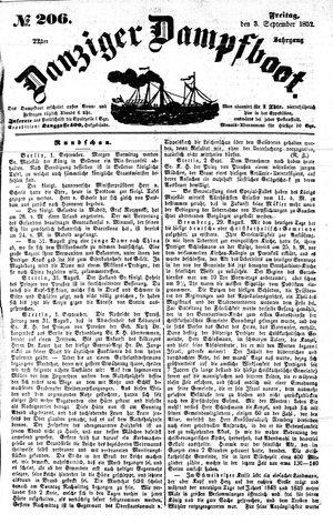 Danziger Dampfboot für Geist, Humor, Satire, Poesie, Welt- und Volksleben, Korrespondenz, Kunst, Literatur und Theater vom 03.09.1852