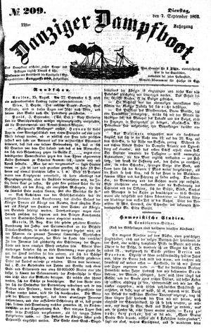 Danziger Dampfboot für Geist, Humor, Satire, Poesie, Welt- und Volksleben, Korrespondenz, Kunst, Literatur und Theater vom 07.09.1852