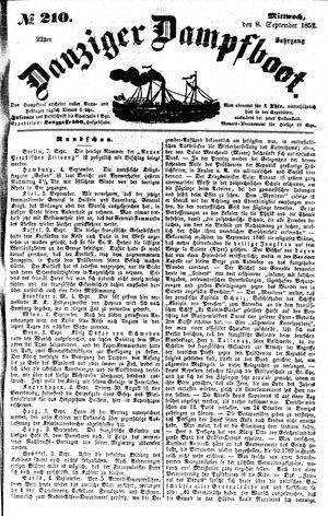 Danziger Dampfboot für Geist, Humor, Satire, Poesie, Welt- und Volksleben, Korrespondenz, Kunst, Literatur und Theater vom 08.09.1852