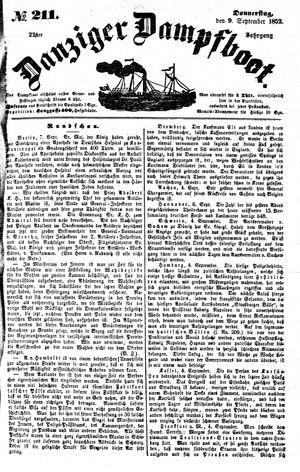 Danziger Dampfboot für Geist, Humor, Satire, Poesie, Welt- und Volksleben, Korrespondenz, Kunst, Literatur und Theater vom 09.09.1852