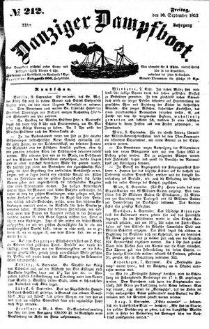 Danziger Dampfboot für Geist, Humor, Satire, Poesie, Welt- und Volksleben, Korrespondenz, Kunst, Literatur und Theater vom 10.09.1852
