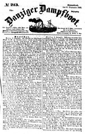 Danziger Dampfboot für Geist, Humor, Satire, Poesie, Welt- und Volksleben, Korrespondenz, Kunst, Literatur und Theater on Sep 11, 1852