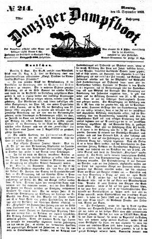 Danziger Dampfboot für Geist, Humor, Satire, Poesie, Welt- und Volksleben, Korrespondenz, Kunst, Literatur und Theater vom 13.09.1852