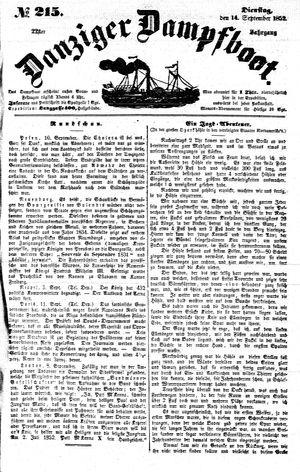 Danziger Dampfboot für Geist, Humor, Satire, Poesie, Welt- und Volksleben, Korrespondenz, Kunst, Literatur und Theater vom 14.09.1852