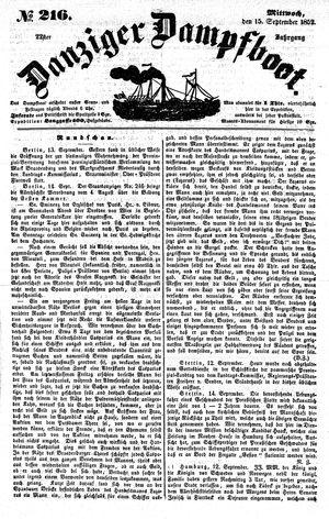 Danziger Dampfboot für Geist, Humor, Satire, Poesie, Welt- und Volksleben, Korrespondenz, Kunst, Literatur und Theater on Sep 15, 1852