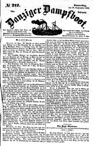 Danziger Dampfboot für Geist, Humor, Satire, Poesie, Welt- und Volksleben, Korrespondenz, Kunst, Literatur und Theater vom 16.09.1852